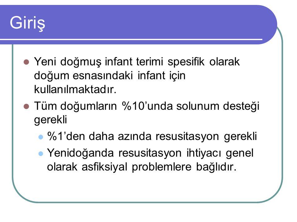 Giriş Yeni doğmuş infant terimi spesifik olarak doğum esnasındaki infant için kullanılmaktadır. Tüm doğumların %10'unda solunum desteği gerekli.