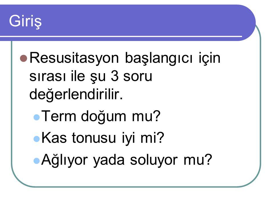 Giriş Resusitasyon başlangıcı için sırası ile şu 3 soru değerlendirilir. Term doğum mu Kas tonusu iyi mi