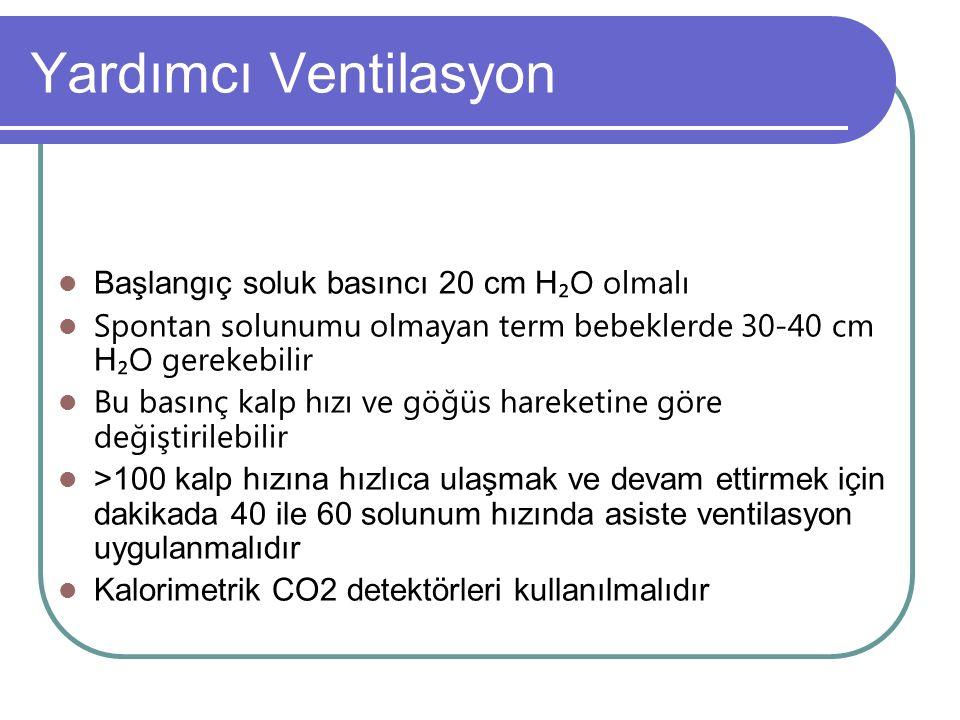 Yardımcı Ventilasyon Başlangıç soluk basıncı 20 cm H₂O olmalı