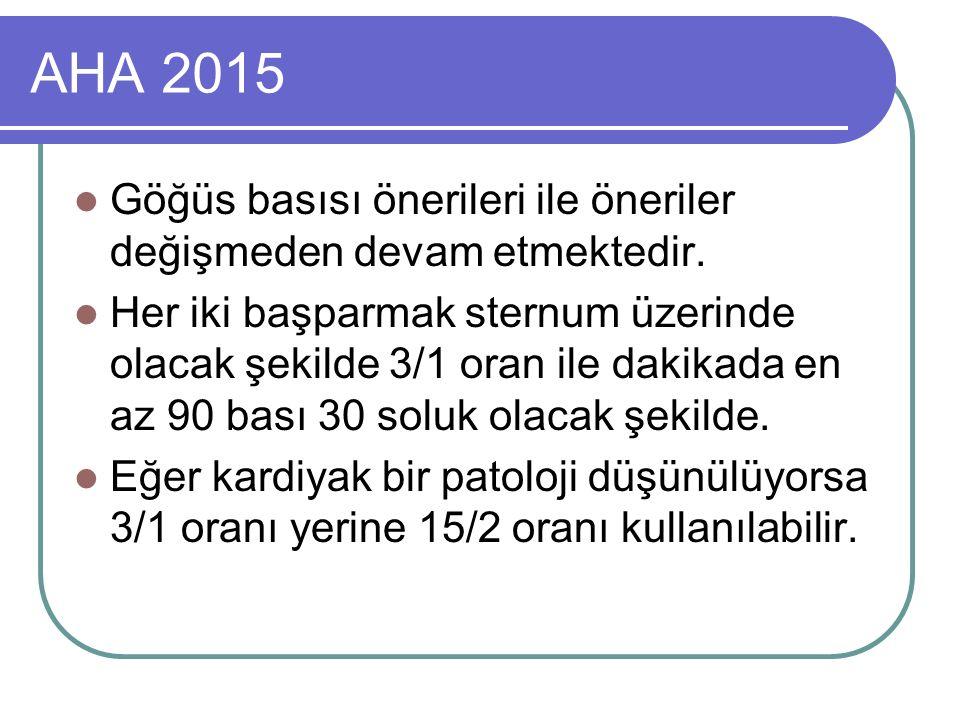 AHA 2015 Göğüs basısı önerileri ile öneriler değişmeden devam etmektedir.