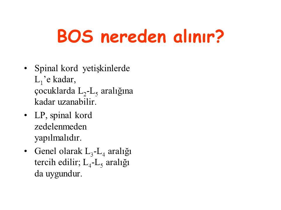 BOS nereden alınır Spinal kord yetişkinlerde L1'e kadar, çocuklarda L2-L5 aralığına kadar uzanabilir.