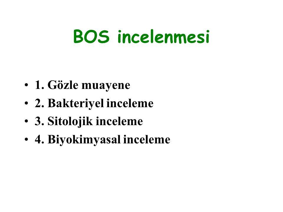 BOS incelenmesi 1. Gözle muayene 2. Bakteriyel inceleme