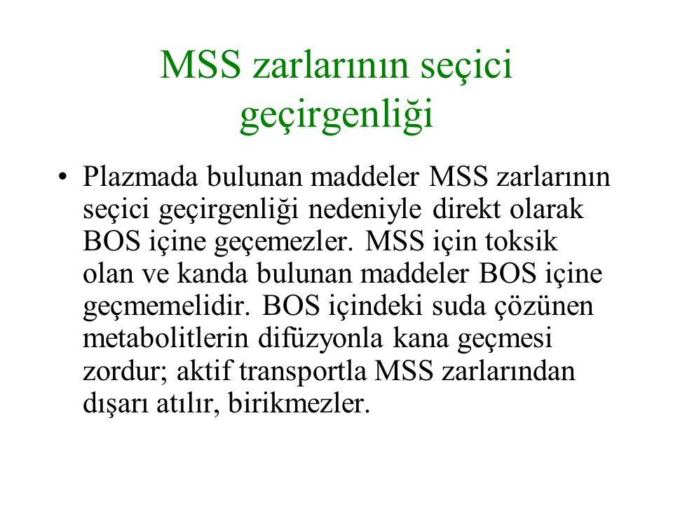 MSS zarlarının seçici geçirgenliği