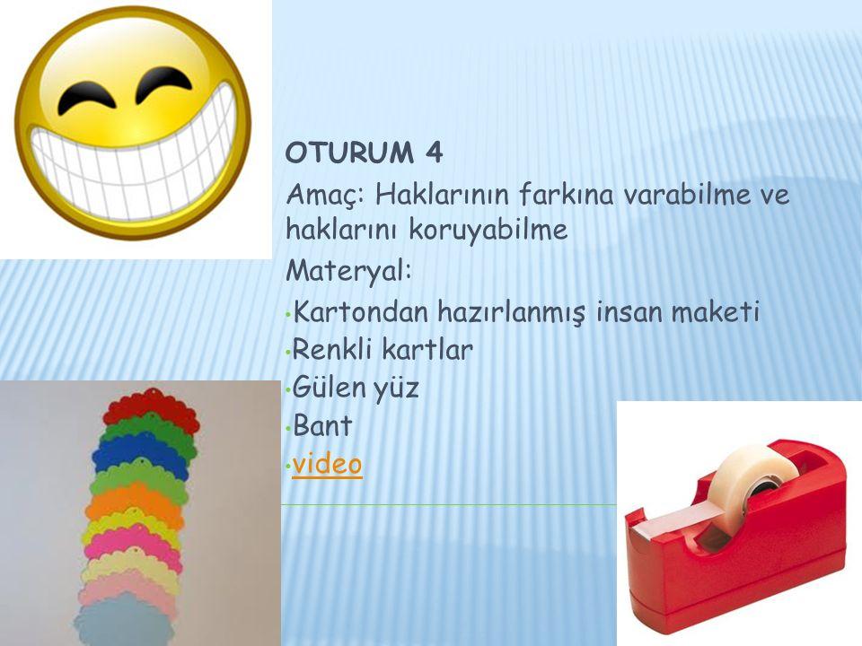 OTURUM 4 Amaç: Haklarının farkına varabilme ve haklarını koruyabilme. Materyal: Kartondan hazırlanmış insan maketi.