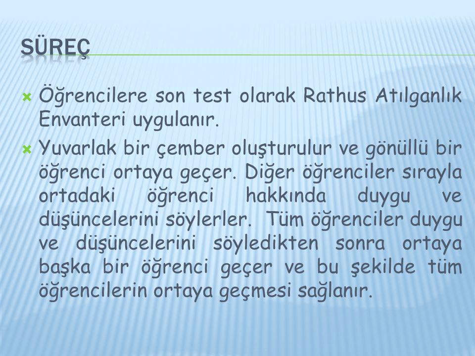 Süreç Öğrencilere son test olarak Rathus Atılganlık Envanteri uygulanır.