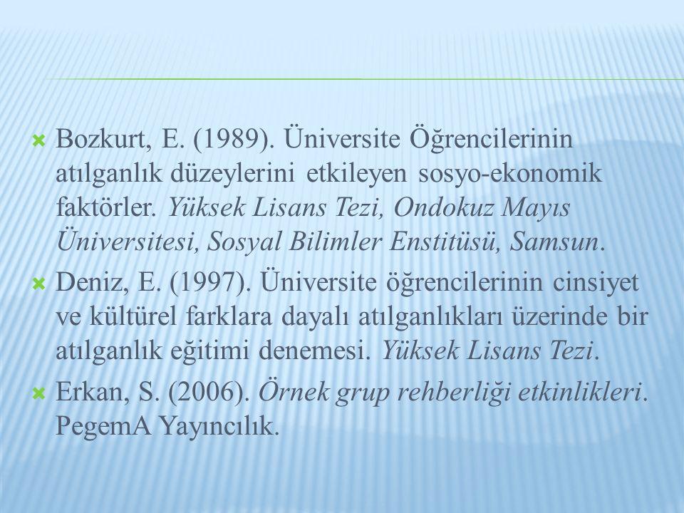 Bozkurt, E. (1989). Üniversite Öğrencilerinin atılganlık düzeylerini etkileyen sosyo-ekonomik faktörler. Yüksek Lisans Tezi, Ondokuz Mayıs Üniversitesi, Sosyal Bilimler Enstitüsü, Samsun.