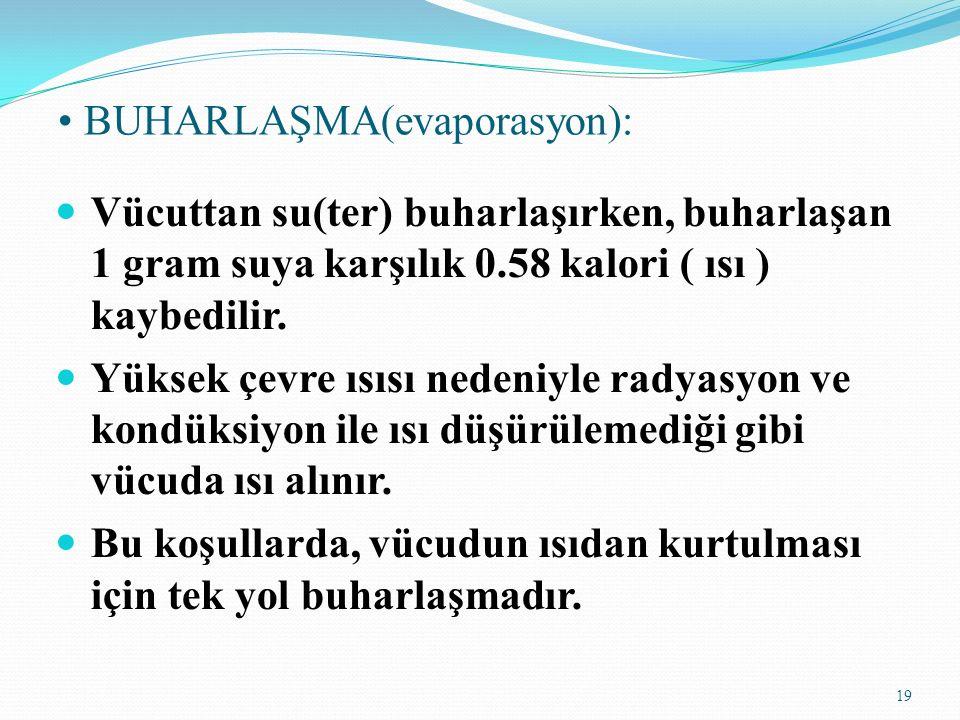 • BUHARLAŞMA(evaporasyon):