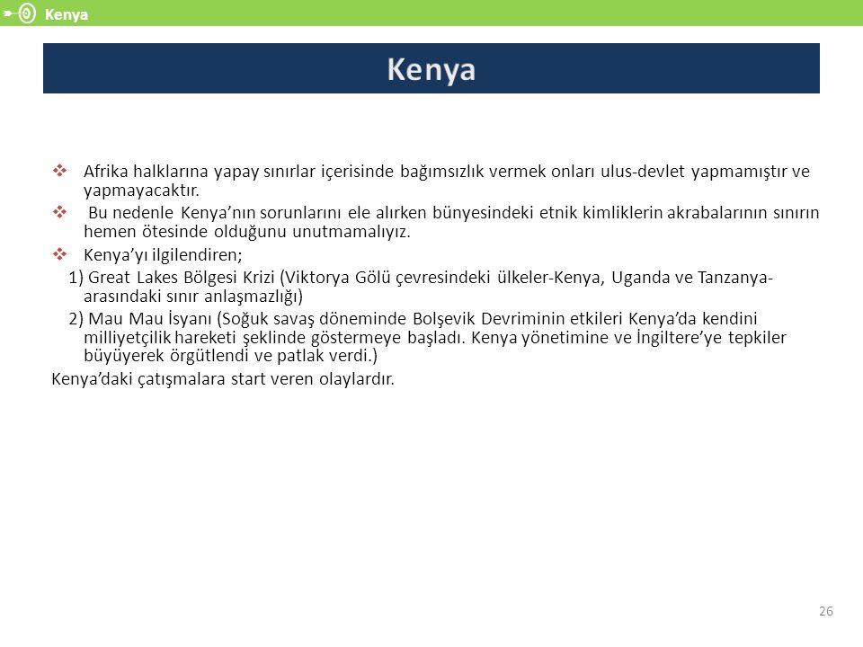 Kenya Kenya. Afrika halklarına yapay sınırlar içerisinde bağımsızlık vermek onları ulus-devlet yapmamıştır ve yapmayacaktır.