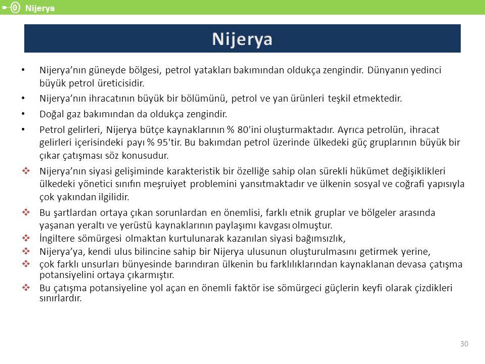 Nijerya Nijerya. Nijerya'nın güneyde bölgesi, petrol yatakları bakımından oldukça zengindir. Dünyanın yedinci büyük petrol üreticisidir.