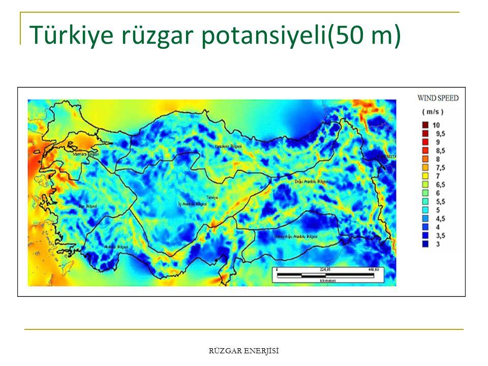 Türkiye rüzgar potansiyeli(50 m)