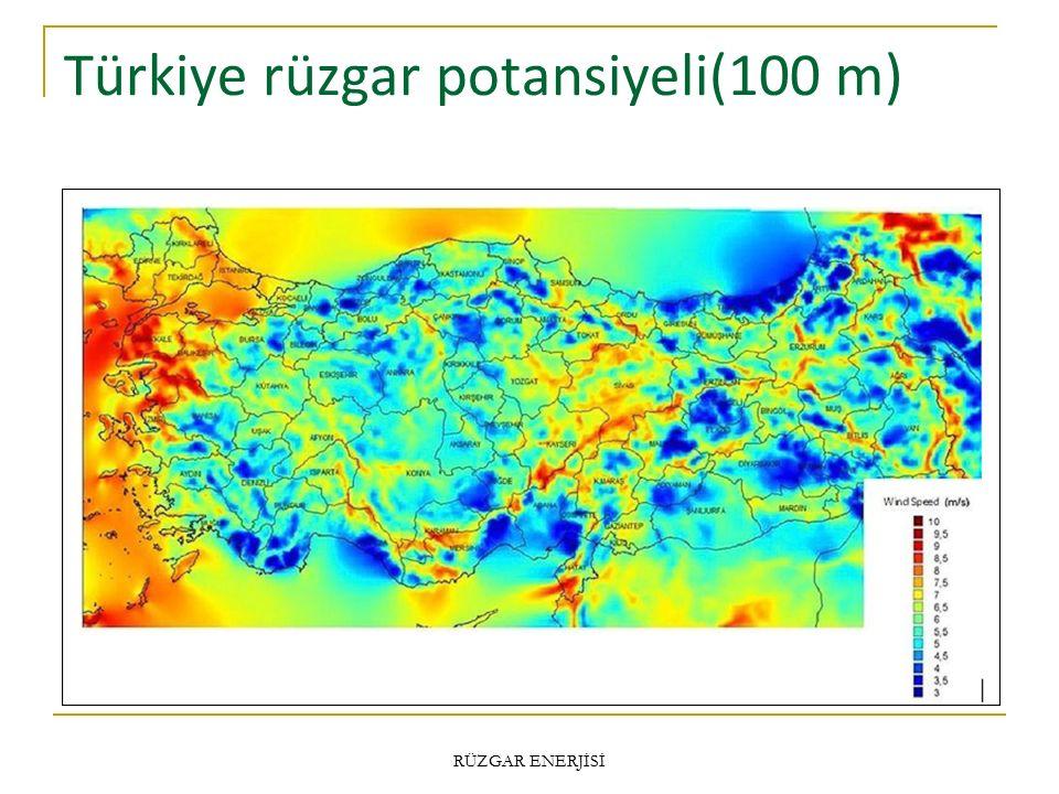 Türkiye rüzgar potansiyeli(100 m)