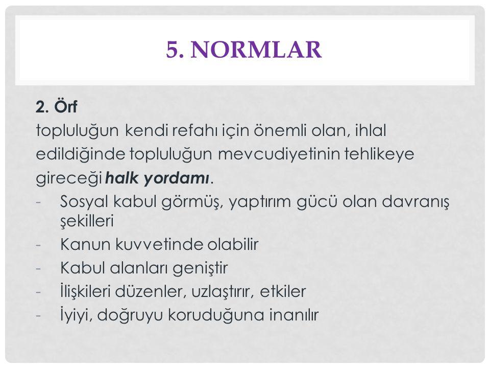 5. Normlar 2. Örf topluluğun kendi refahı için önemli olan, ihlal