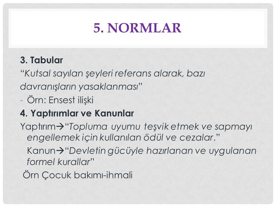 5. Normlar 3. Tabular Kutsal sayılan şeyleri referans alarak, bazı