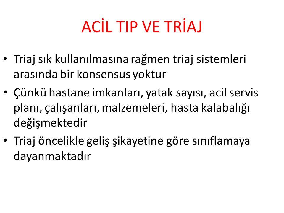 ACİL TIP VE TRİAJ Triaj sık kullanılmasına rağmen triaj sistemleri arasında bir konsensus yoktur.