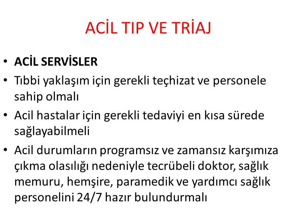 ACİL TIP VE TRİAJ ACİL SERVİSLER