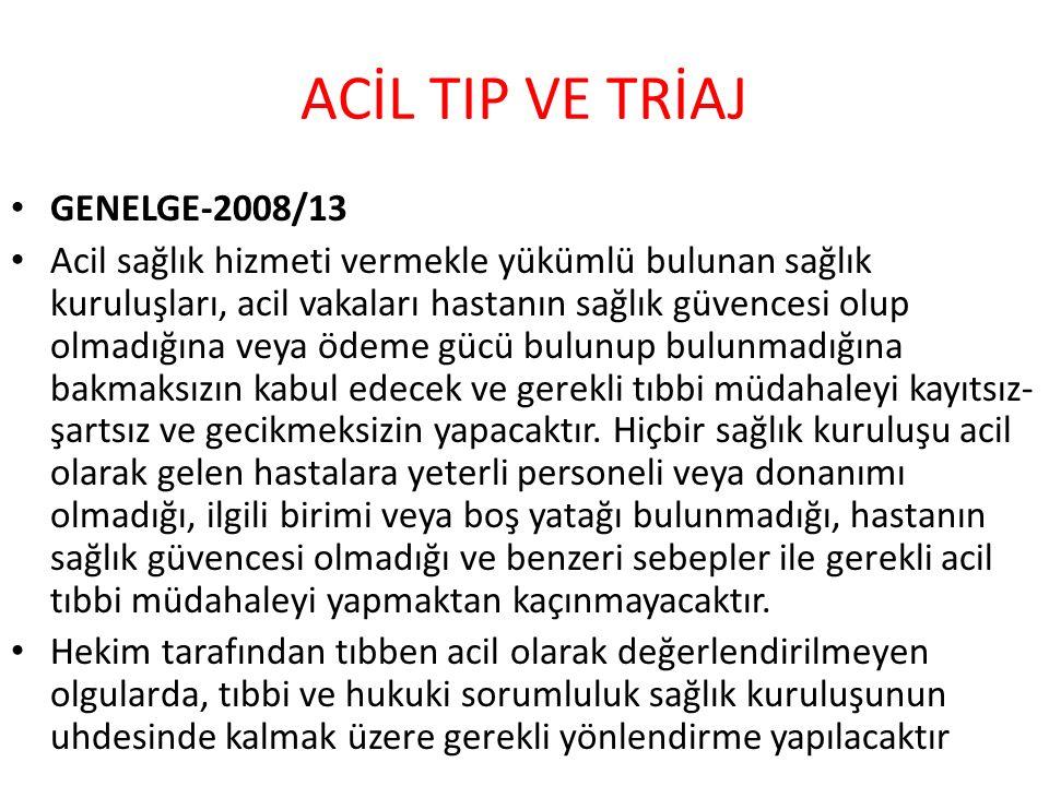 ACİL TIP VE TRİAJ GENELGE-2008/13