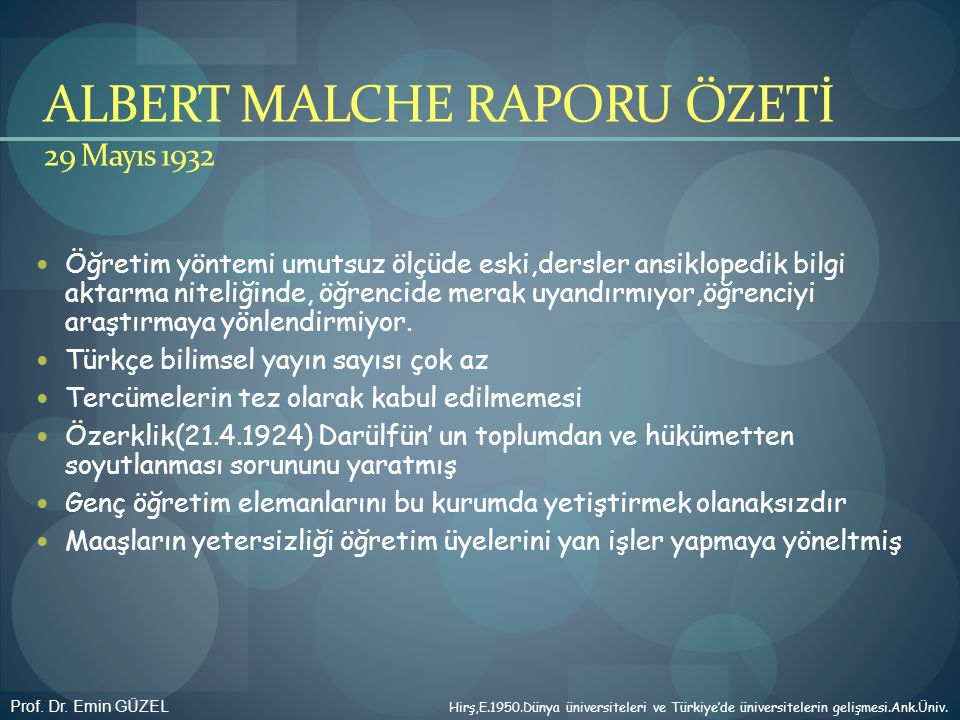 ALBERT MALCHE RAPORU ÖZETİ 29 Mayıs 1932