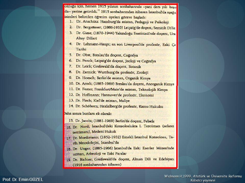 Wıdmann H,1999. Atatürk ve Üniversite Reformu Kabalcı yayınevi