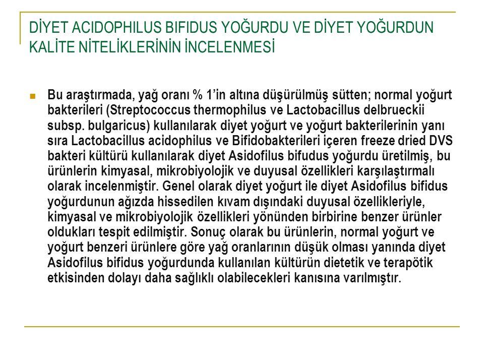 DİYET ACIDOPHILUS BIFIDUS YOĞURDU VE DİYET YOĞURDUN KALİTE NİTELİKLERİNİN İNCELENMESİ