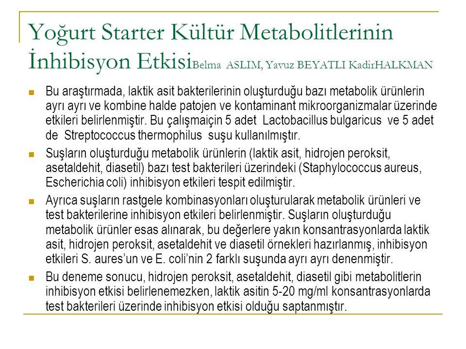 Yoğurt Starter Kültür Metabolitlerinin İnhibisyon EtkisiBelma ASLIM, Yavuz BEYATLI KadirHALKMAN