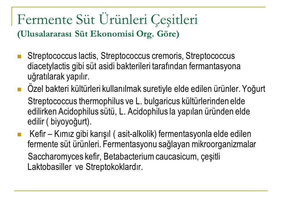 Fermente Süt Ürünleri Çeşitleri (Ulusalararası Süt Ekonomisi Org. Göre)