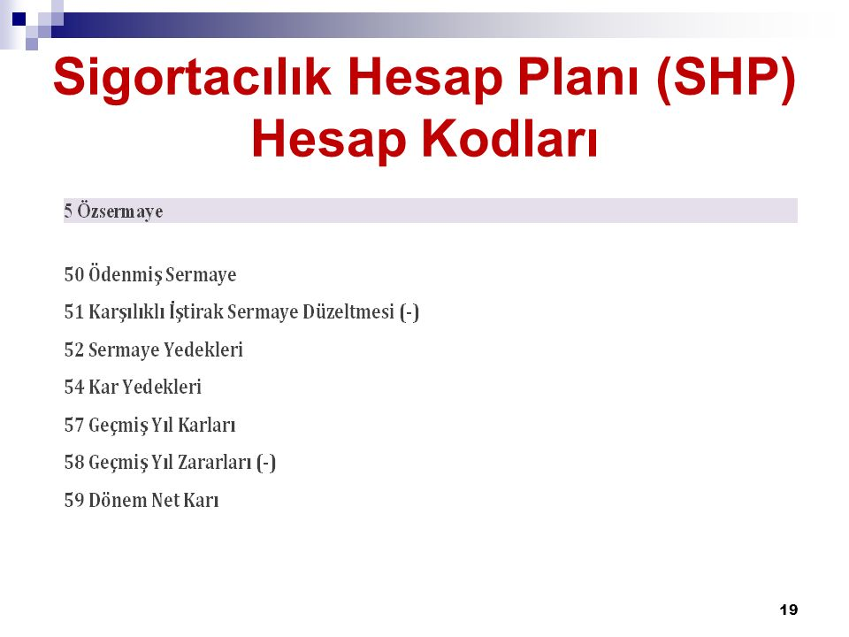 Sigortacılık Hesap Planı (SHP) Hesap Kodları