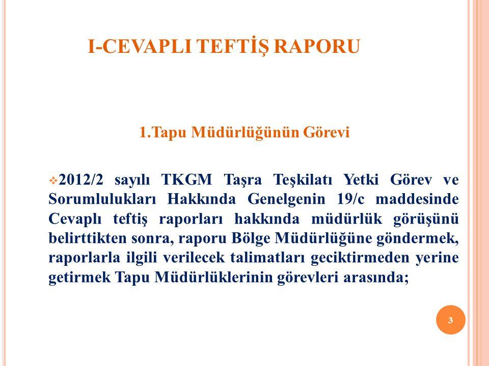 I-CEVAPLI TEFTİŞ RAPORU