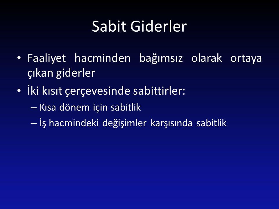 Sabit Giderler Faaliyet hacminden bağımsız olarak ortaya çıkan giderler. İki kısıt çerçevesinde sabittirler:
