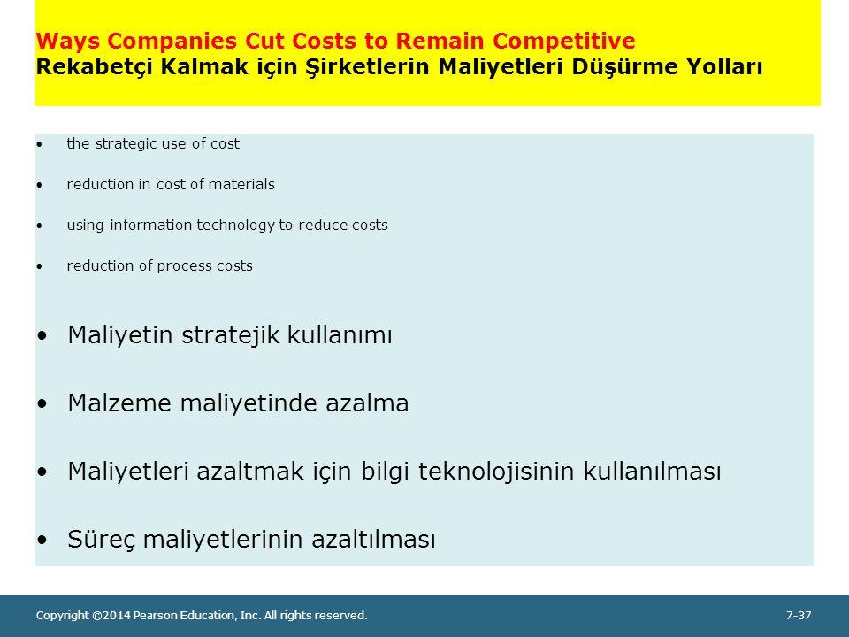 Maliyetin stratejik kullanımı Malzeme maliyetinde azalma