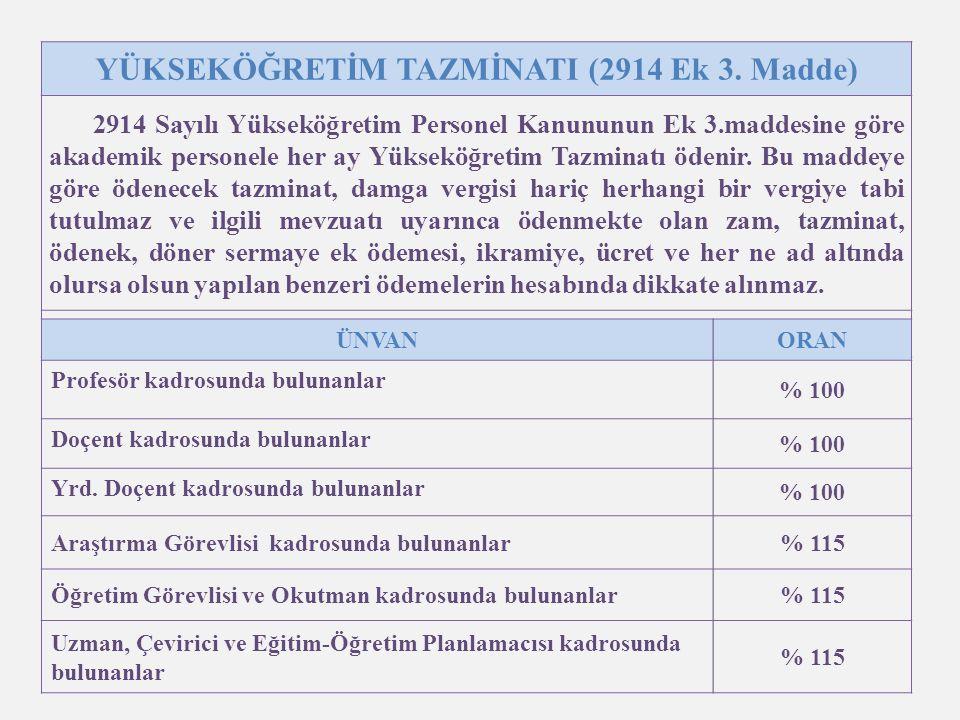 YÜKSEKÖĞRETİM TAZMİNATI (2914 Ek 3. Madde)