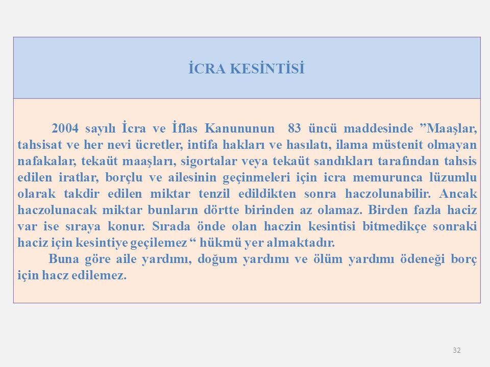 İCRA KESİNTİSİ