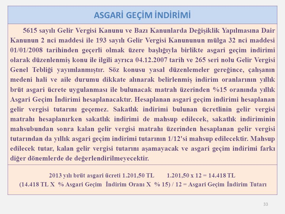 2013 yılı brüt asgari ücreti 1.201,50 TL 1.201,50 x 12 = 14.418 TL
