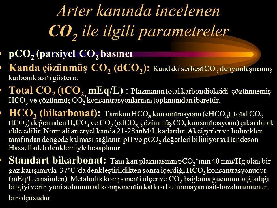 Arter kanında incelenen CO2 ile ilgili parametreler