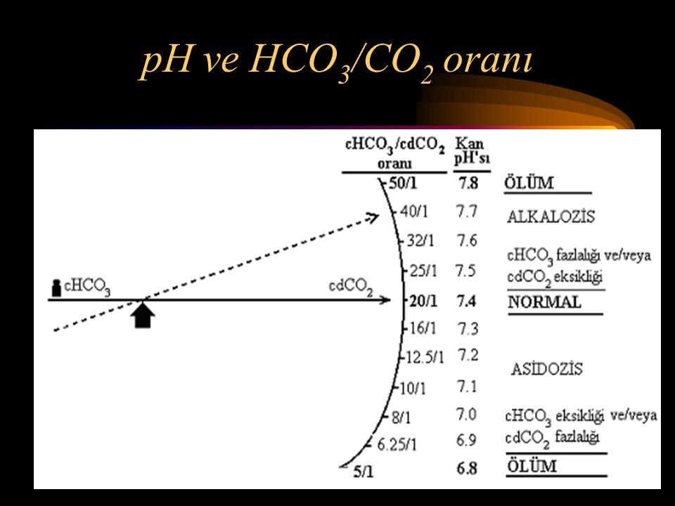 pH ve HCO3/CO2 oranı