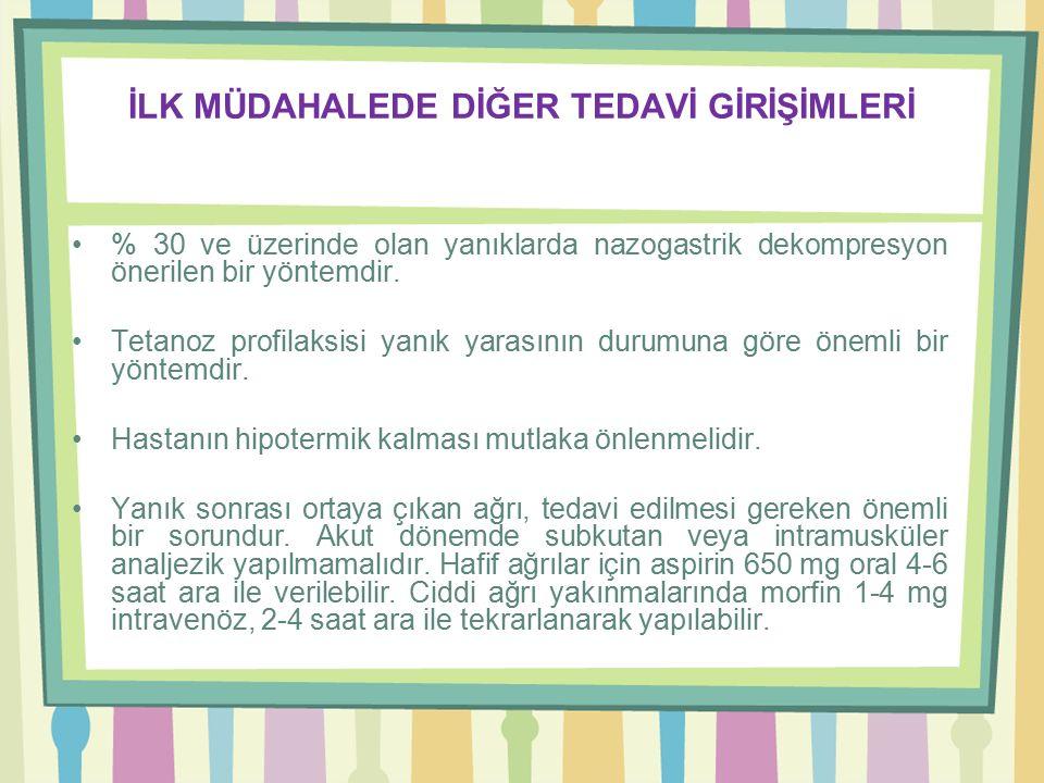 İLK MÜDAHALEDE DİĞER TEDAVİ GİRİŞİMLERİ