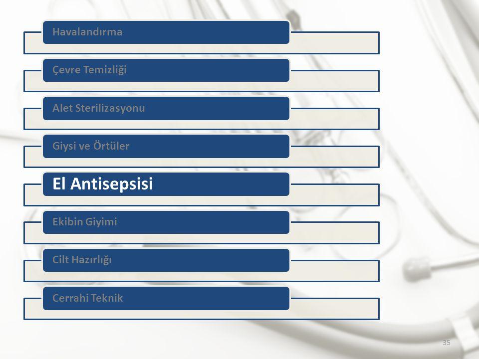 El Antisepsisi Havalandırma Çevre Temizliği Alet Sterilizasyonu