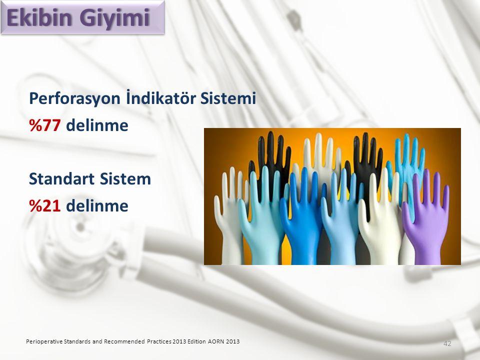 Ekibin Giyimi Perforasyon İndikatör Sistemi %77 delinme Standart Sistem %21 delinme