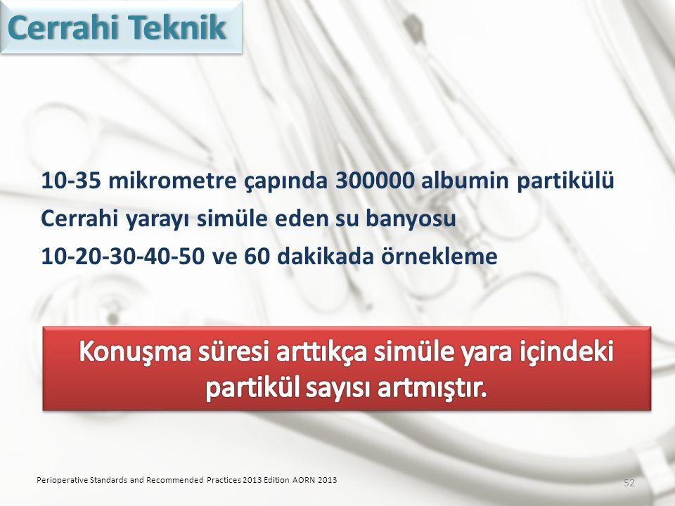 Cerrahi Teknik 10-35 mikrometre çapında 300000 albumin partikülü Cerrahi yarayı simüle eden su banyosu 10-20-30-40-50 ve 60 dakikada örnekleme