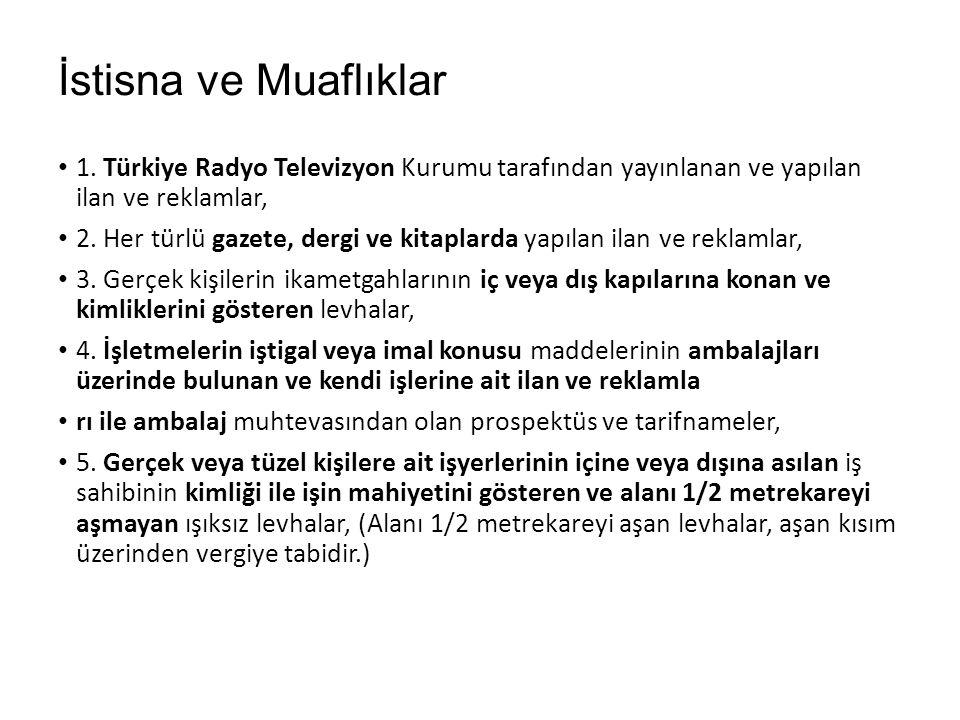 İstisna ve Muaflıklar 1. Türkiye Radyo Televizyon Kurumu tarafından yayınlanan ve yapılan ilan ve reklamlar,