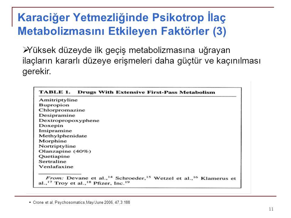 Karaciğer Yetmezliğinde Psikotrop İlaç Metabolizmasını Etkileyen Faktörler (3)