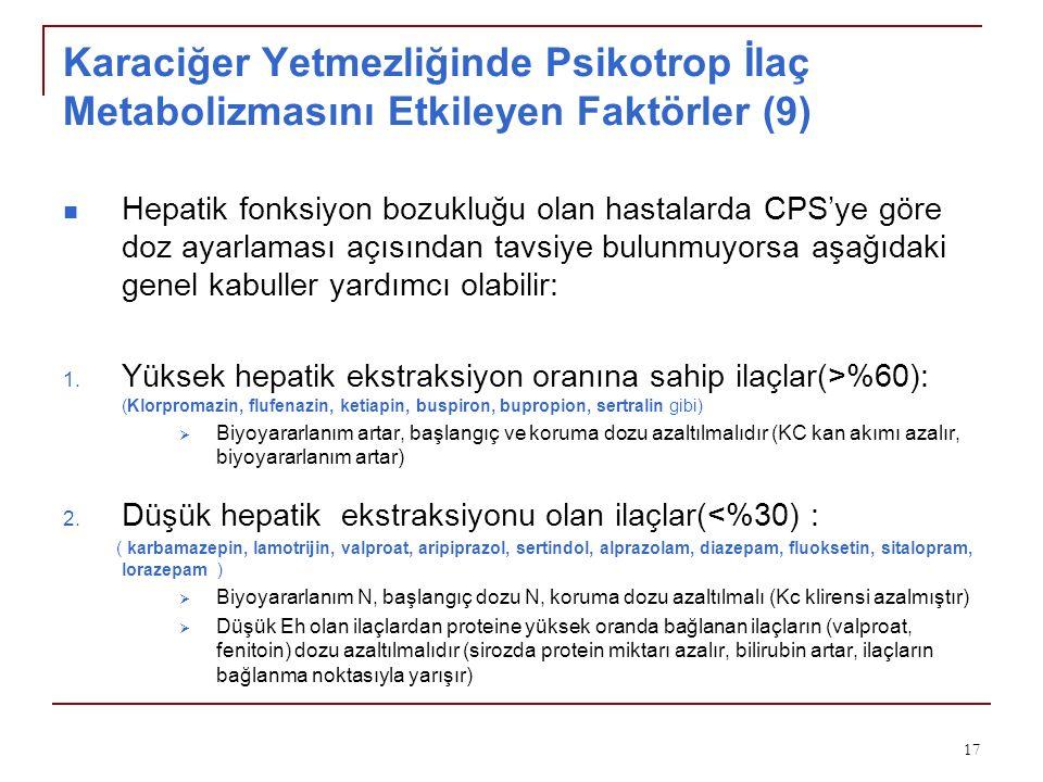 Karaciğer Yetmezliğinde Psikotrop İlaç Metabolizmasını Etkileyen Faktörler (9)