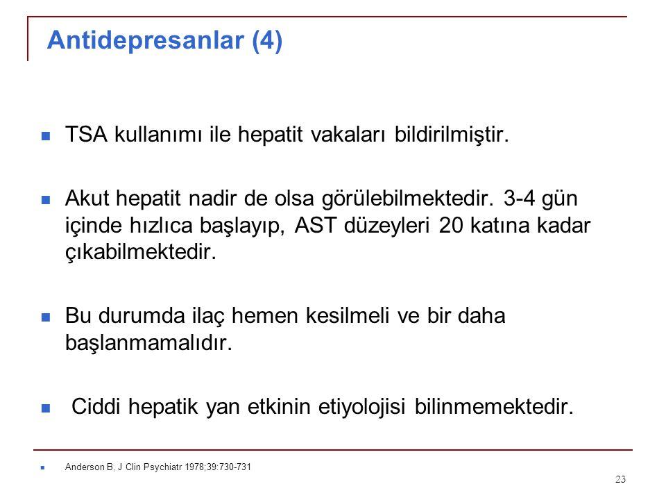 Antidepresanlar (4) TSA kullanımı ile hepatit vakaları bildirilmiştir.