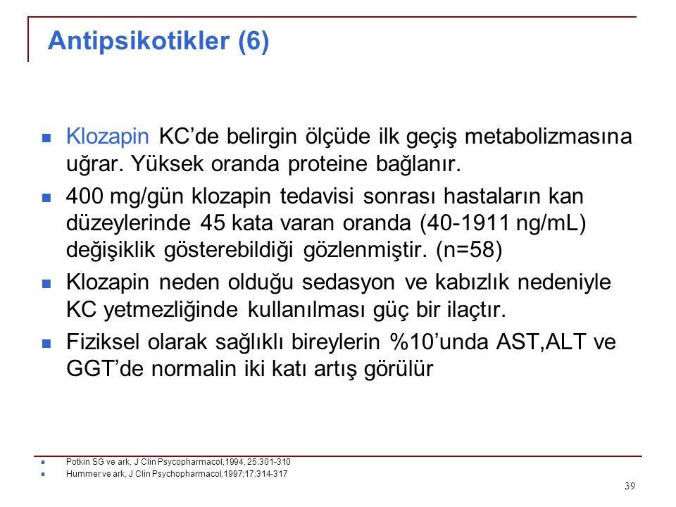 Antipsikotikler (6) Klozapin KC'de belirgin ölçüde ilk geçiş metabolizmasına uğrar. Yüksek oranda proteine bağlanır.