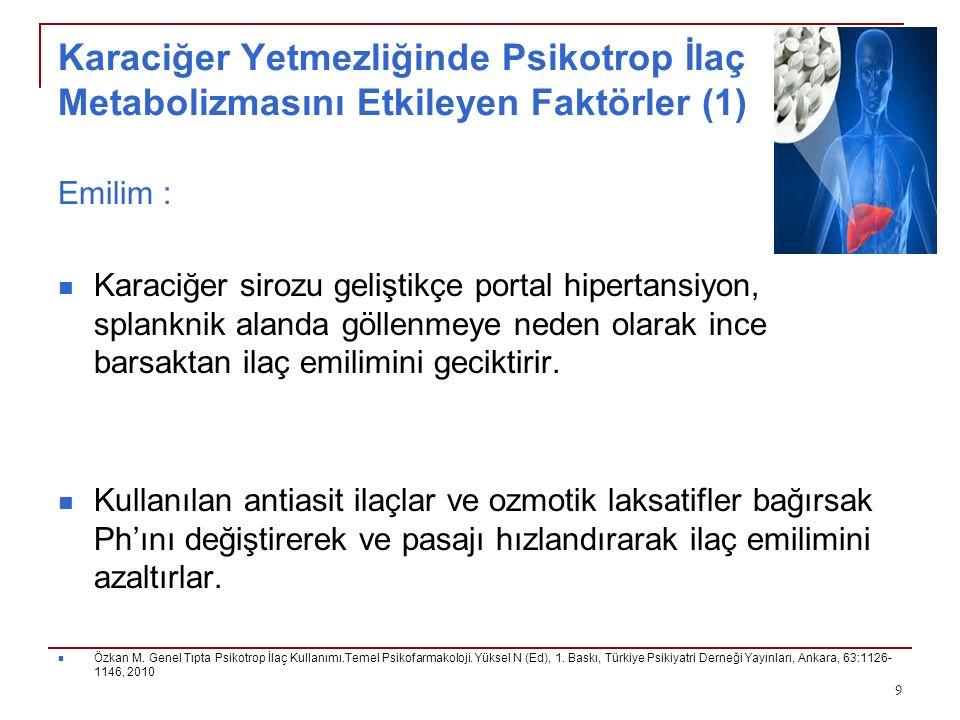 Karaciğer Yetmezliğinde Psikotrop İlaç Metabolizmasını Etkileyen Faktörler (1)