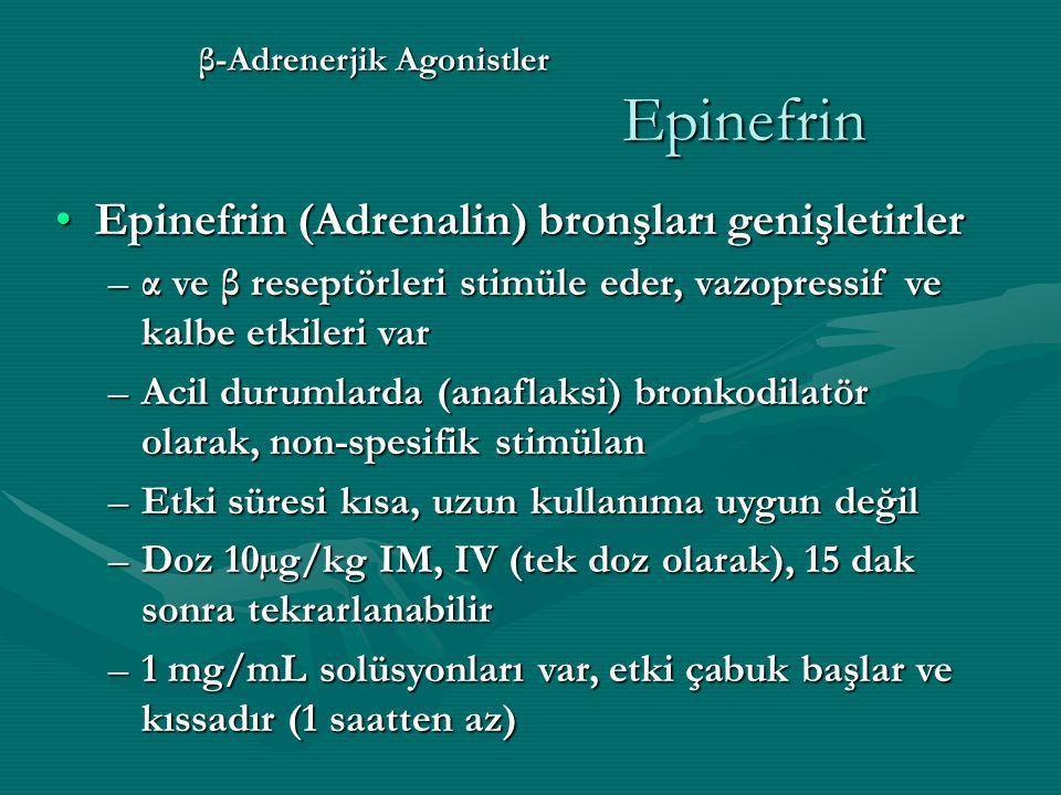 β-Adrenerjik Agonistler Epinefrin