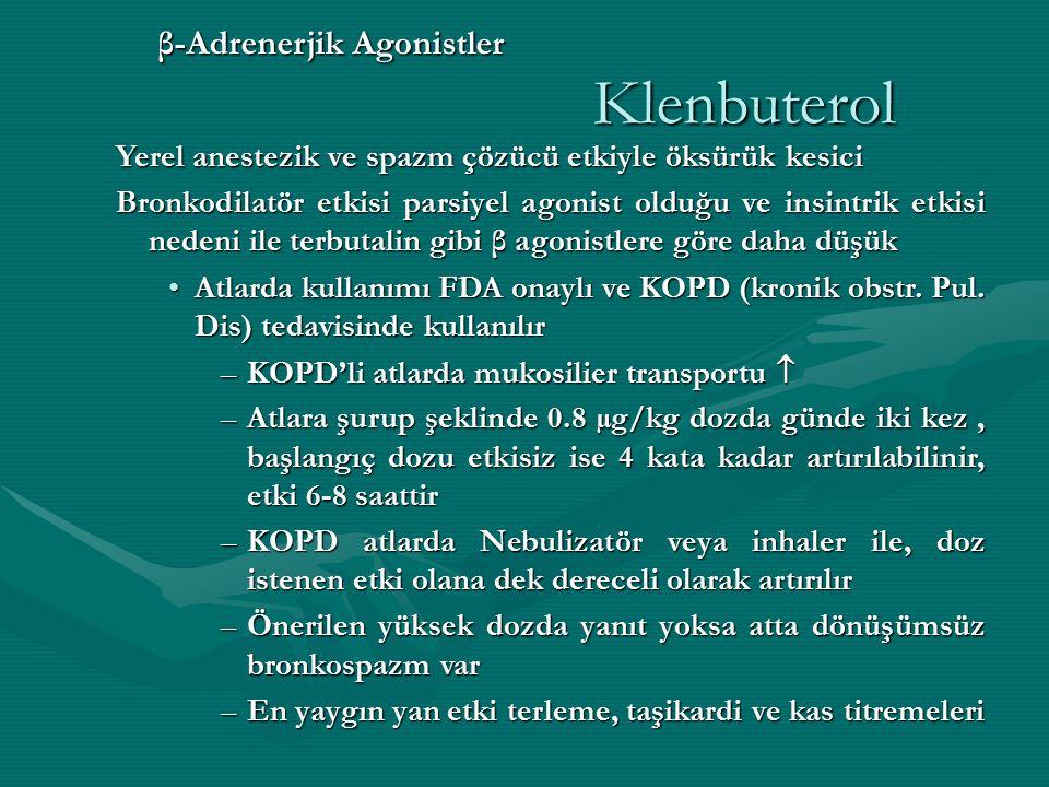 β-Adrenerjik Agonistler Klenbuterol