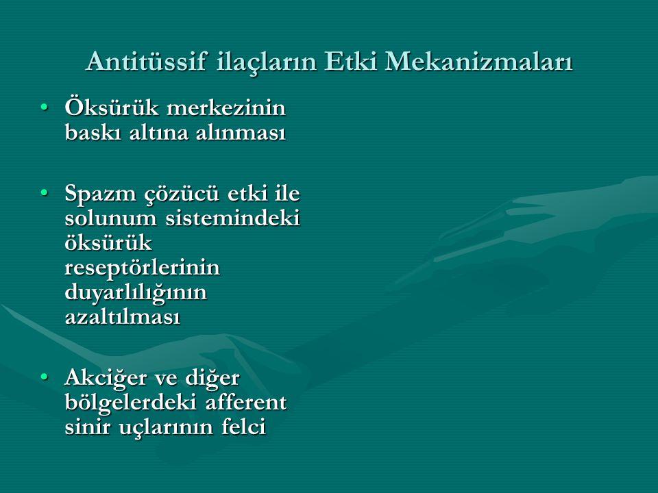 Antitüssif ilaçların Etki Mekanizmaları