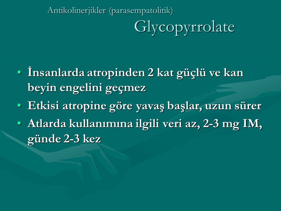 Antikolinerjikler (parasempatolitik) Glycopyrrolate
