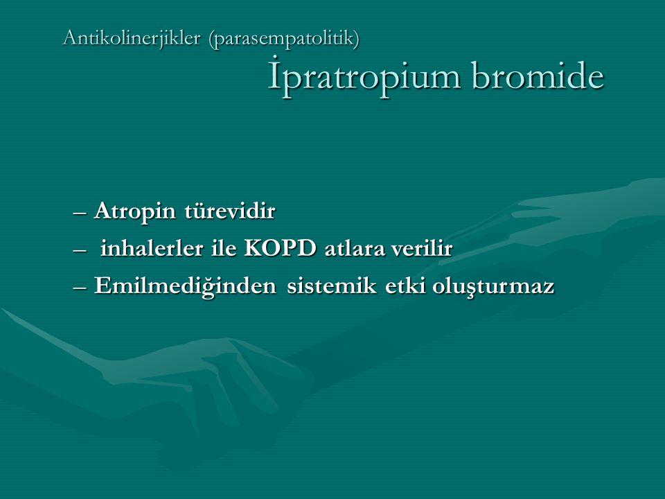 Antikolinerjikler (parasempatolitik) İpratropium bromide