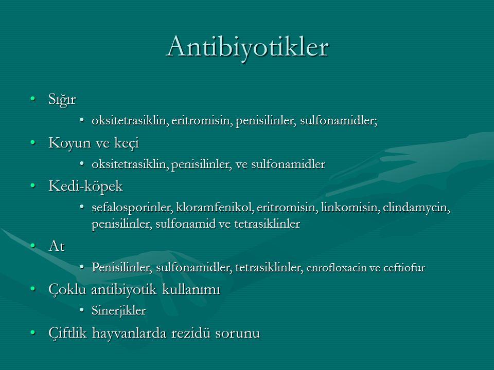 Antibiyotikler Sığır Koyun ve keçi Kedi-köpek At
